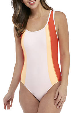 One-Piece Colorblock Keyhole Back Swimsuit