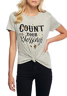 Short Sleeve Count Your Blessings Tie Front Top