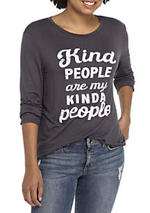 Tie Front Kind People Are My People Long Sleeve Graphic Tee