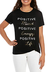Pretty Rebellious Short Sleeve Tie Front Positive Vibes Graphic Tee