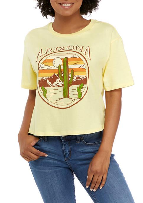Juniors Short Sleeve Skimmer Arizona Graphic T-Shirt