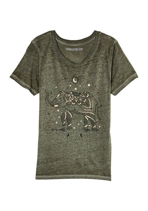 Short Sleeve Elephant Burnout T-Shirt