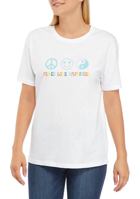 Miken Juniors Short Sleeve Peace Love Happiness Graphic