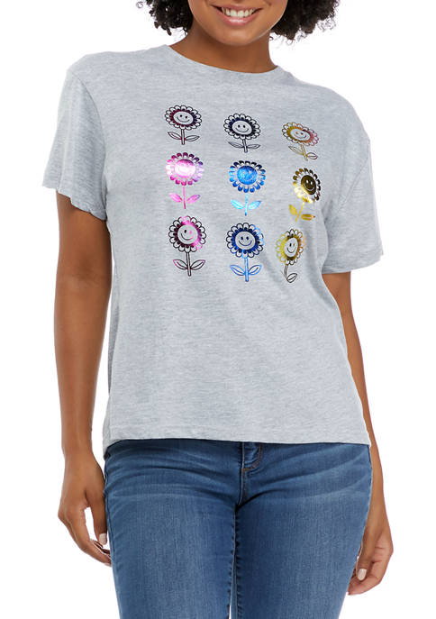 Juniors Short Sleeve Flower Graphic T-Shirt