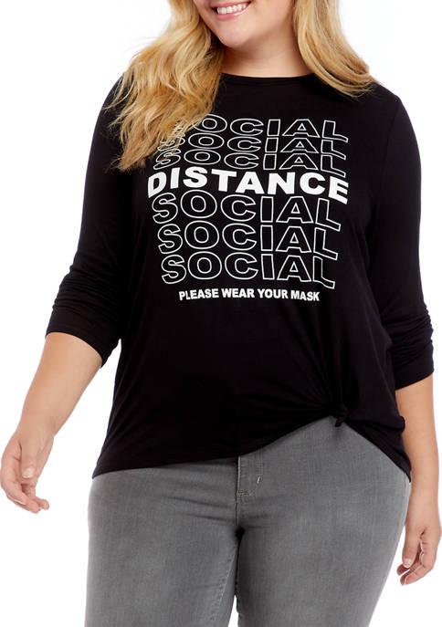 Pretty Rebellious Plus Size Social Distance Graphic T-Shirt