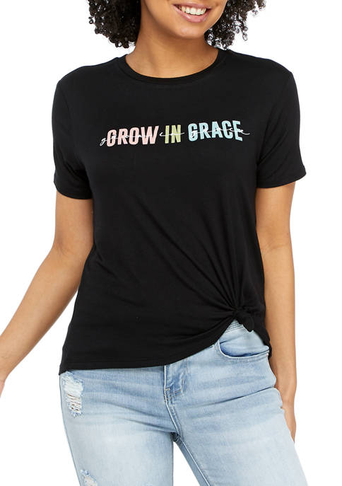 Juniors Short Sleeve Side Knot Grow in Grace Graphic T-Shirt