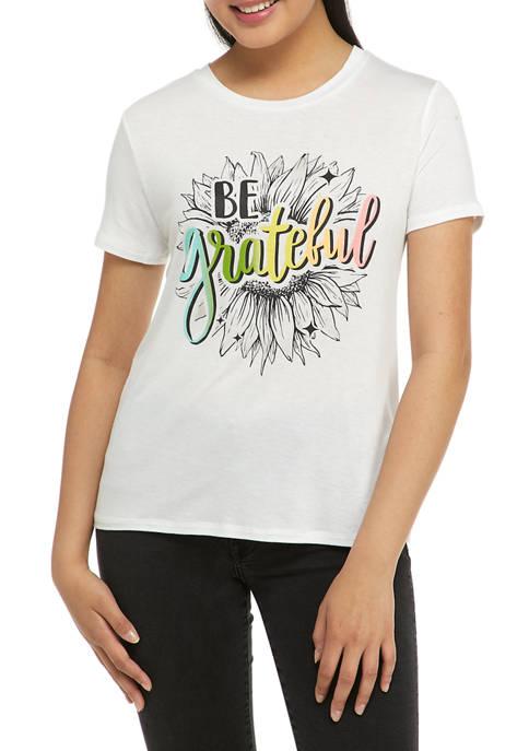 Juniors Short Sleeve Be Grateful Graphic T-Shirt