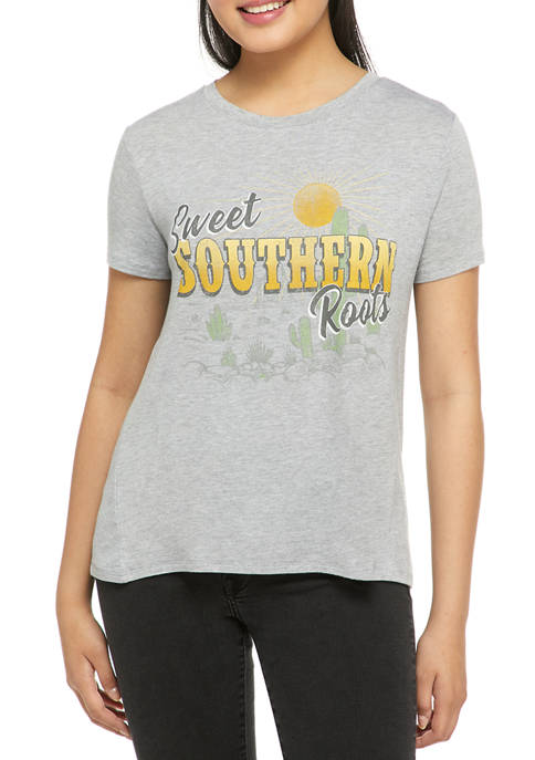 Juniors Short Sleeve Sweet Southern Roots Graphic T-Shirt