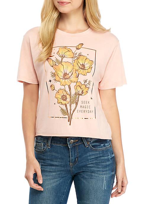 Short Sleeve Burnout Floral Skimmer Top