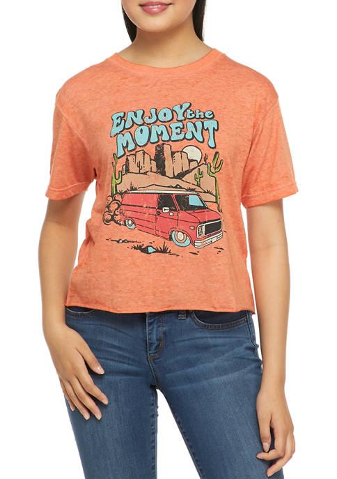 Juniors Short Sleeve Burnout Skimmer Enjoy the Moment Graphic T-Shirt