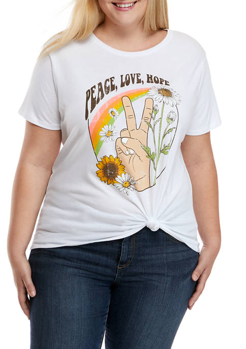 Plus Size Peace, Love and Hope Graphic T-Shirt