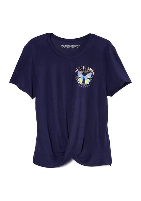Juniors Dreamer Twist Front T-Shirt