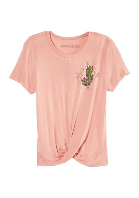 Cactus Short Sleeve Twist Front Top