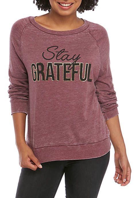Juniors Long Sleeve Stay Grateful Sweatshirt