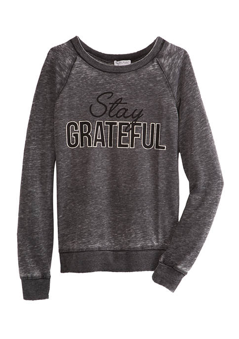 Juniors Burnout Stay Grateful Graphic Pullover