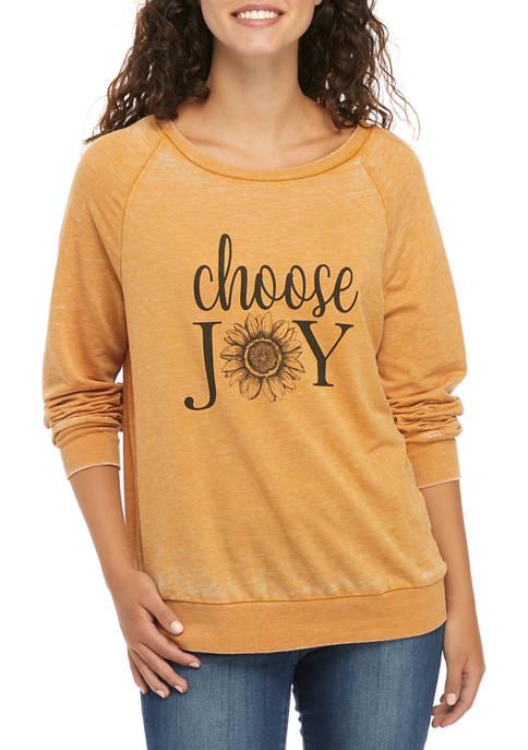 Juniors Long Sleeve Burnout Fleece Graphic Shirt