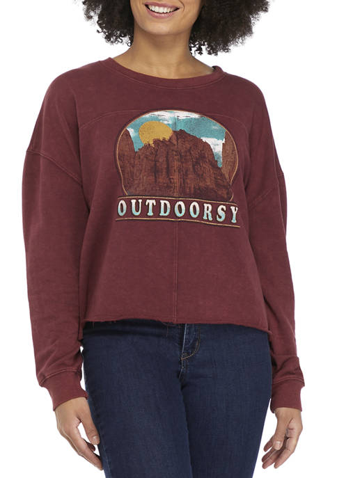 Pretty Rebellious Juniors Washed Crop Fleece Outdoorsy Graphic