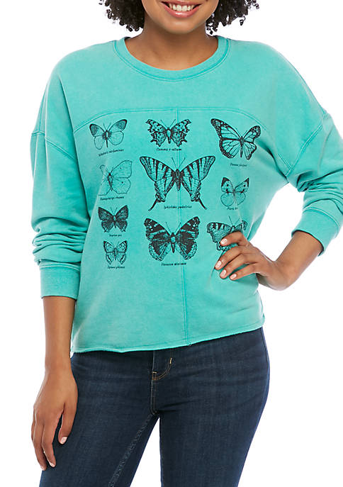 Pretty Rebellious Juniors Mineral Wash Cropped Butterfly