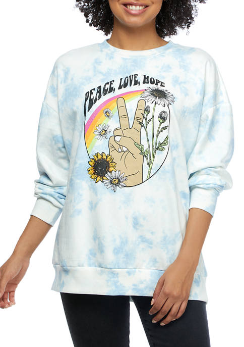 Pretty Rebellious Juniors Fleece Peace Graphic Pullover