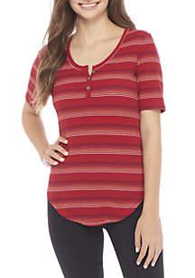Elbow Shirttail Stripe Three-Button Henley Top