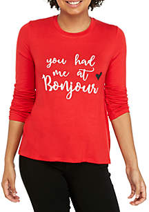 Long Sleeve You Had Me At Bonjour Knot Front Graphic Tee