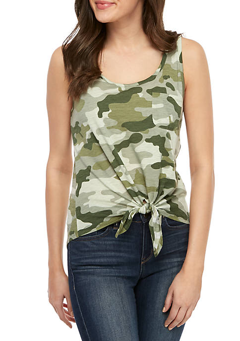 Pretty Rebellious Knot Front Printed Tank