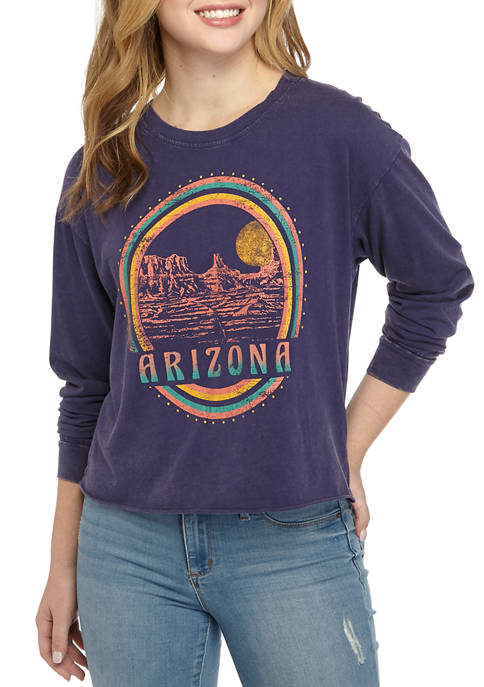 Pretty Rebellious Juniors Long Sleeve Washed Skimmer Arizona