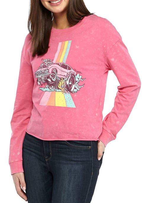 Juniors Long Sleeve Washed Skimmer Rainbow Car Graphic T-Shirt