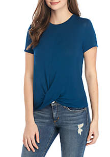 Pretty Rebellious Short Sleeve Twist Front Top