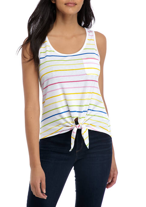 Pretty Rebellious Juniors Multi Stripe Convo Tank Top