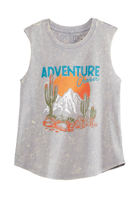 Pretty Rebellious Juniors Washed Adventure Chaser Graphic Tank