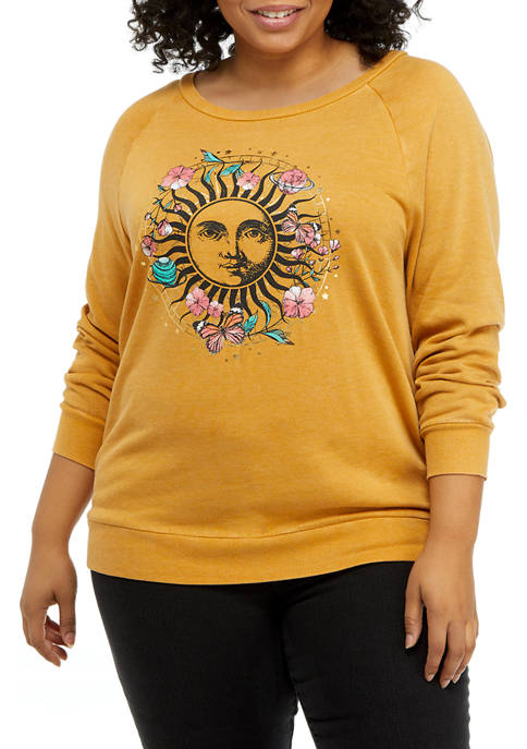 Pretty Rebellious Plus Size Sun Graphic Washed Fleece