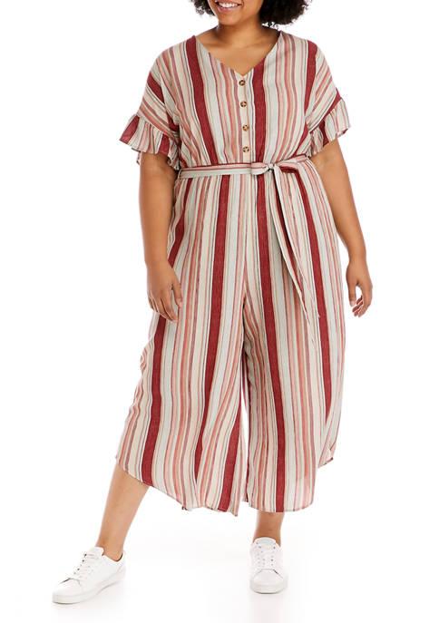 Lily White Plus Size Crepe Striped Jumpsuit
