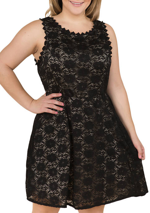 Lily White Plus Size All Over Lace Dress