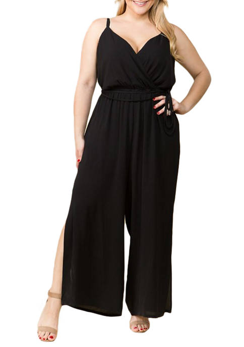 Lily White Womens Sleeveless Solid Jumpsuit