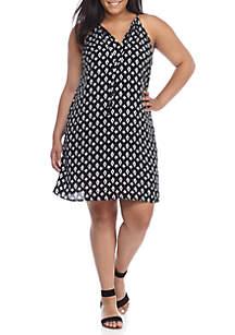 Plus Size Printed Halter Swing Dress
