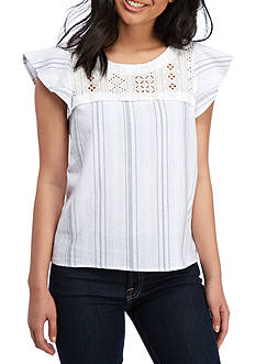 Lily White Eyelet Top Stripe Ruffle Shoulder Top