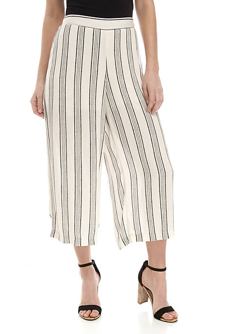Lily White Elastic Crop Palazzo Pants