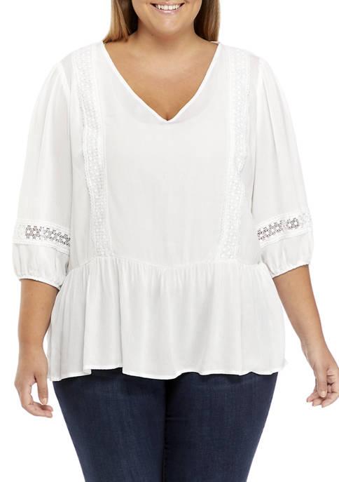 Plus Size 3/4 Sleeve Crochet Inset Top