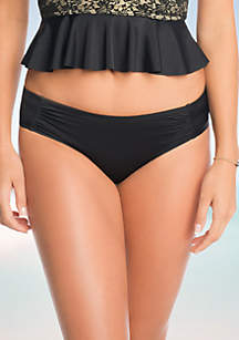 Solid Ruched Swim Bottoms