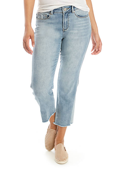 Indigo Rein Wide Leg Fray Hem Jeans