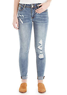 Double Button Distressed Fray Cuff Jeans