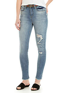 High Rise Frayed Hem Metallic Belted Skinny Jeans
