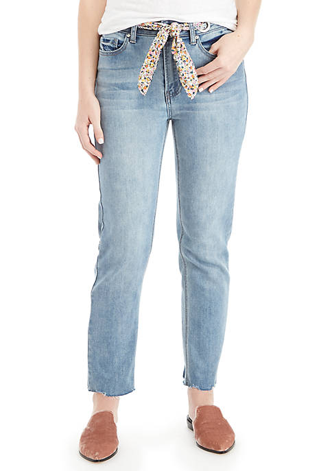 High Rise Ankle Floral Belted Jeans