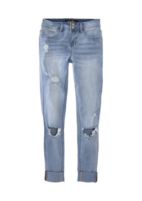 Juniors Rolled Cuff Blown Out Knee Jeans