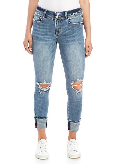 Double Button Cross Hatch Cuff Jeans