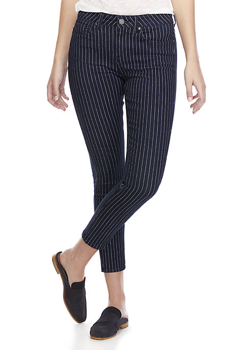 Indigo Rein Mid-Rise Ankle Railroad Stripe Skinny Jeans