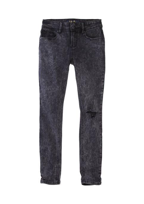 Indigo Rein Juniors Mid Rise Acid Wash Jeans