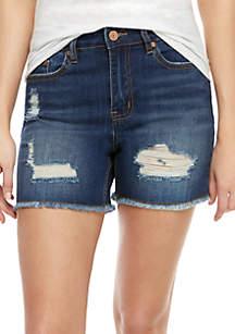 Indigo Rein High Rise Frayed Hem Jean Shorts