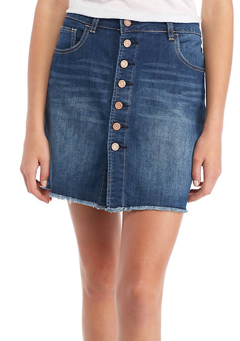 Indigo Rein Button Front Denim Mini Skirt